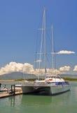 Giant Catarmaran Sailing Boat in Fiji. stock images