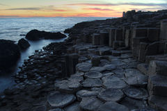 Giant causeway in sunset light. Antrim county in Northern Ireland royalty free stock images