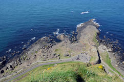 Giant Causeway view from the top cliffs in Ireland Stock Photography