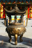 Giant censer in Chinese temple Stock Photo
