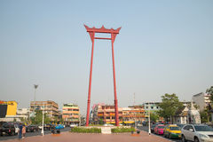 Giant ceremonial swing Sao Ching Cha in the town square. Bangkok Stock Image