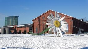 Giant chamomile flower and building `Forum Marinum`. Turku, Finland. TURKU, FINLAND - FEBRUARY 23, 2018: Giant chamomile flower on the background of the building stock footage