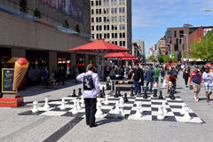 Giant chess board in Montreal Stock Photo
