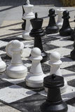 Giant chess games in the street with large pieces Stock Images