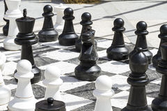 Giant chess games in the street with large pieces Stock Photo