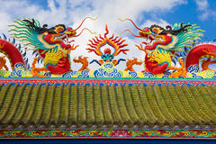 Giant Chinese dragon. Giant Chinese dragon with blue sky background Royalty Free Stock Photography