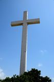 Giant Christian Cross at Gora Qabaristan cemetery Karachi Pakistan. Karachi, Pakistan - September 9, 2016: A 43 meters tall Christian cross near the entrance to stock photos