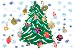 Giant Christmas tree decorated and snowflakes on white background royalty free illustration