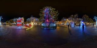 Giant Christmas tree at night in Piața Trandafirilor, Târgu Mureș, Romania Royalty Free Stock Photo
