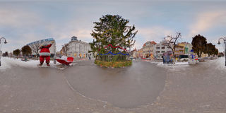 Giant Christmas tree in Piața Trandafirilor, Târgu Mureș, Romania. 360 panorama of a giant Christmas tree in winter daytime in a snow-covered Piața Royalty Free Stock Photos