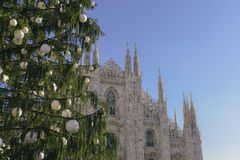 Christmas shopping season in the historic centre of Milan, Lombardy, Italy stock photography