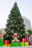 Giant Christmas Tree with Presents. Big Christmas tree with presents and a teddy bear in San Jose's annual Christmas in the Park Stock Photo
