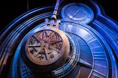 A giant clock in Hogwarts. Leavesden, London - March 3 2016: A giant clock in Hogwarts as featured in Harry Potter and the Prisoner of Azkaban, the Warner Royalty Free Stock Photography