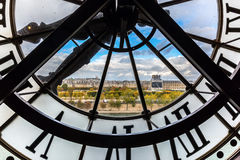 The giant clock of the Musee dOrsay in Paris. Paris, France - October 19, 2016: giant clock of Musee dOrsay. It houses in the former Gare d`Orsay, a Beaux-Arts Royalty Free Stock Image