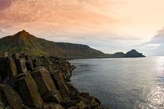 Giant Coast. Giant's Causeway in Ireland, on the coast, near sunset Royalty Free Stock Photos