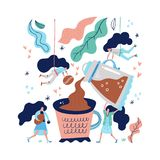 Giant coffee cup royalty free illustration