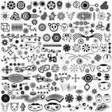 Giant Collection of Unique Vector Design Elements. A huge set of a variety of highly original, unique, trendy vector design elements or brush set illustration Stock Photos