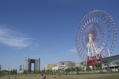 Giant colourful wheel in tokyo city Stock Images