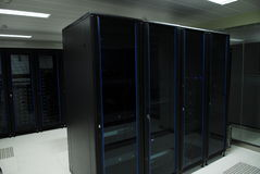 Giant computer servers room Stock Photo