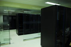 Giant computer servers room Royalty Free Stock Photos