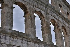Coliseum.Pula.Croatia.Giant construction of the huge amphitheater. The massive walls of the amphitheater in Pula.Croatia.place of gladiatorial combat Royalty Free Stock Images