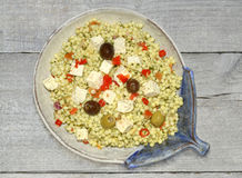 Giant couscous salad with feta Royalty Free Stock Photos