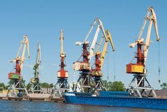 Giant cranes in port Royalty Free Stock Photo