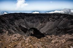 Piton de la Fournaise Crater. Giant crater from recent eruptions of the Piton de La Fournaise crater Royalty Free Stock Images