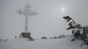 Giant cross. Mountain panorama with a giant cross stock video