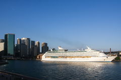 Giant cruise ship in Sydney, Australia. Giant cruise ocean liner in Circular Quay, Sydney, Australia Stock Photos