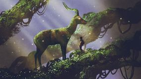 Giant deer statue in forest. Young hiker found giant deer statue covered with moss and lichen while traveling in the forest, digital art style, illustration stock illustration