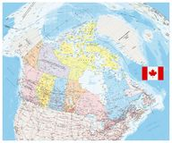 Giant detailed political map of Canada. With cities and towns Stock Photography