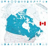 Giant detailed road map of Canada and navigation icons. Vector illustration Stock Photo