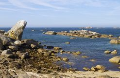 Atlantic Ocean Coast near Meneham, Brittany Royalty Free Stock Photos