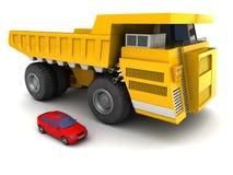 Giant dumper and car Stock Photos
