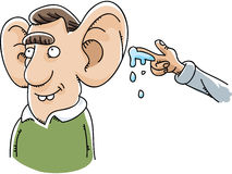 Giant Ear Wet Willy. A cartoon had prepares to give a wet willy to a man with giant ears Royalty Free Stock Photos