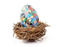 Giant easter egg in nest Royalty Free Stock Images