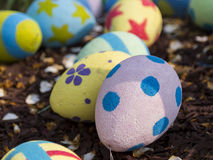 Giant Easter Eggs with petals on wood chips Royalty Free Stock Images
