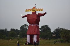 Effigy of Ravana or devil during Dussera , Sambalpur. The giant effigy is of Ravana , the wise man of ancient Lanka. This effigy is prepared to celebrate Dussera royalty free stock image