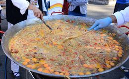 Giant omelette detail stock images