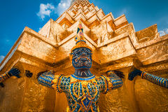 The Giant at the Emerald Buddha, Bangkok, Thailand. Demon Guardian Wat Phra Kaew Grand Palace Bangkok Royalty Free Stock Image
