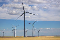 Giant energy producing wind turbine blades in Montana Royalty Free Stock Image