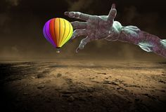 Surreal Landscape, Hot Air Balloon, Monster Hand Royalty Free Stock Photo