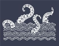 Giant evil kraken absorbs commercial sailing ship, silhouette octopus sea monster with tentacles. Vector cartoon illustration of Giant silhouette octopus sea Stock Images