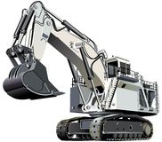 Giant excavator. Detailed ial image of large white excavator, isolated on white background. Contains gradients and blends Royalty Free Stock Photography