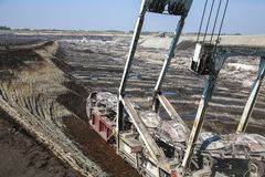 Giant excavator in a coal mine Stock Photo