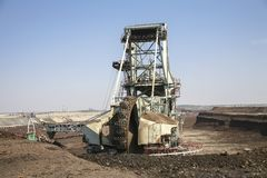 Giant excavator in a coal mine Royalty Free Stock Images