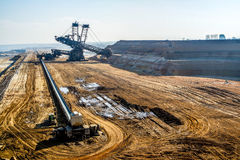 Giant excavator in open cast mine. Garzweiler royalty free stock photography