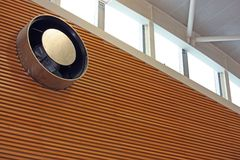 Giant exhaust fan. In an indoor sports hall royalty free stock photo