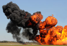 Giant explosion. Giant outdoor explosion with fire and black smoke Royalty Free Stock Photo